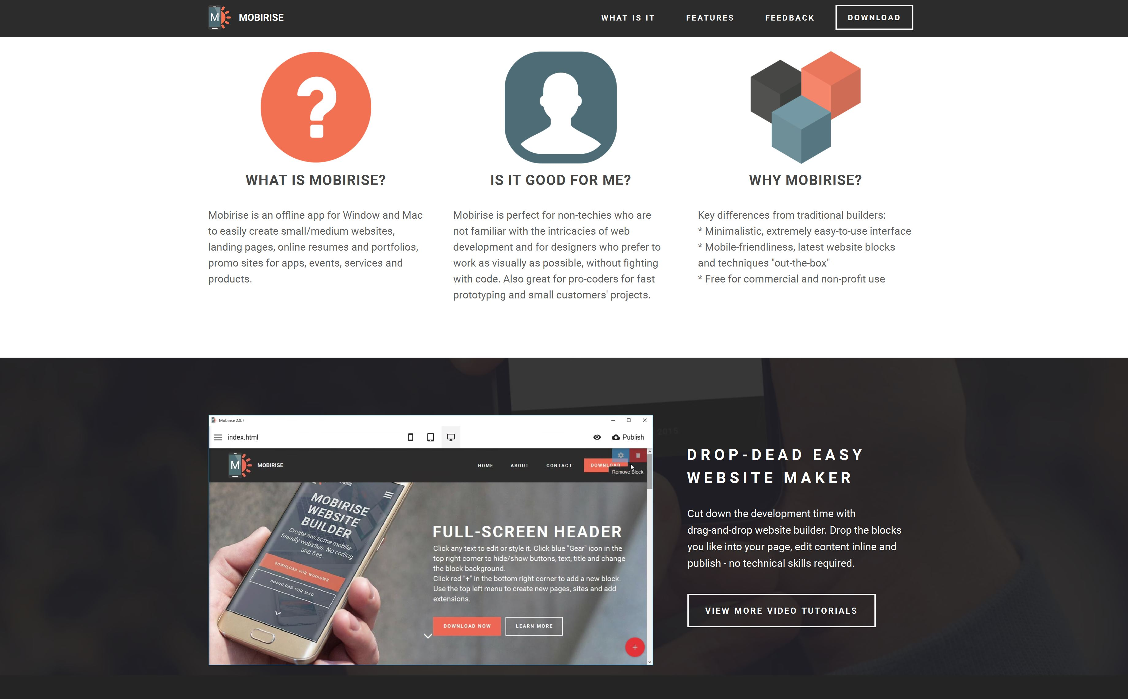 Mobirise is an effective bootstrap website builder for all who is definitely keen on creating web sites that definitely are just a little more original compared with your common  developed web pages though furthermore enabling you to make responsive websites which are perfectly coded.