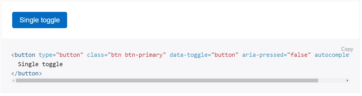 Toggle states  delivered  by means of Bootstrap buttons