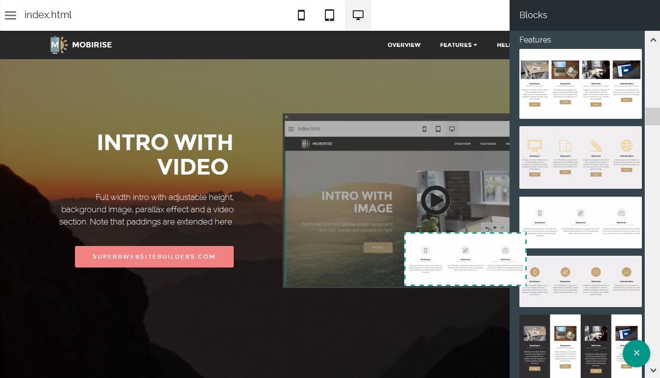 Drag and Drop Website Generator