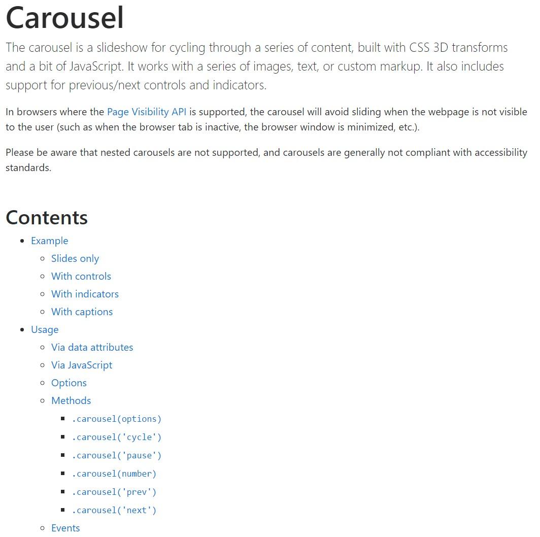 Bootstrap carousel  authoritative  documents