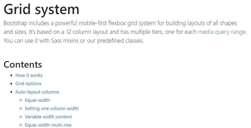 Bootstrap grid  main  information