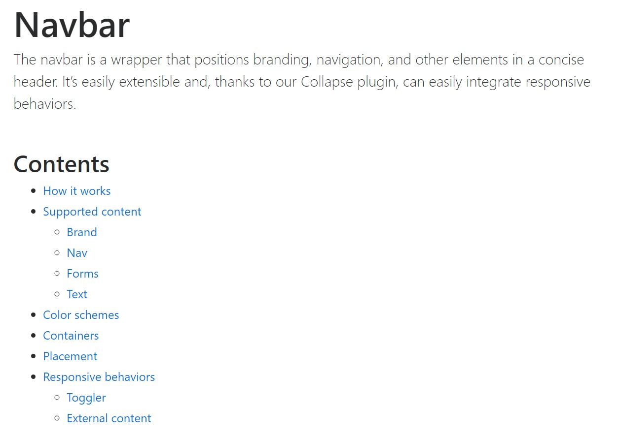 Bootstrap Navbar  authoritative  information