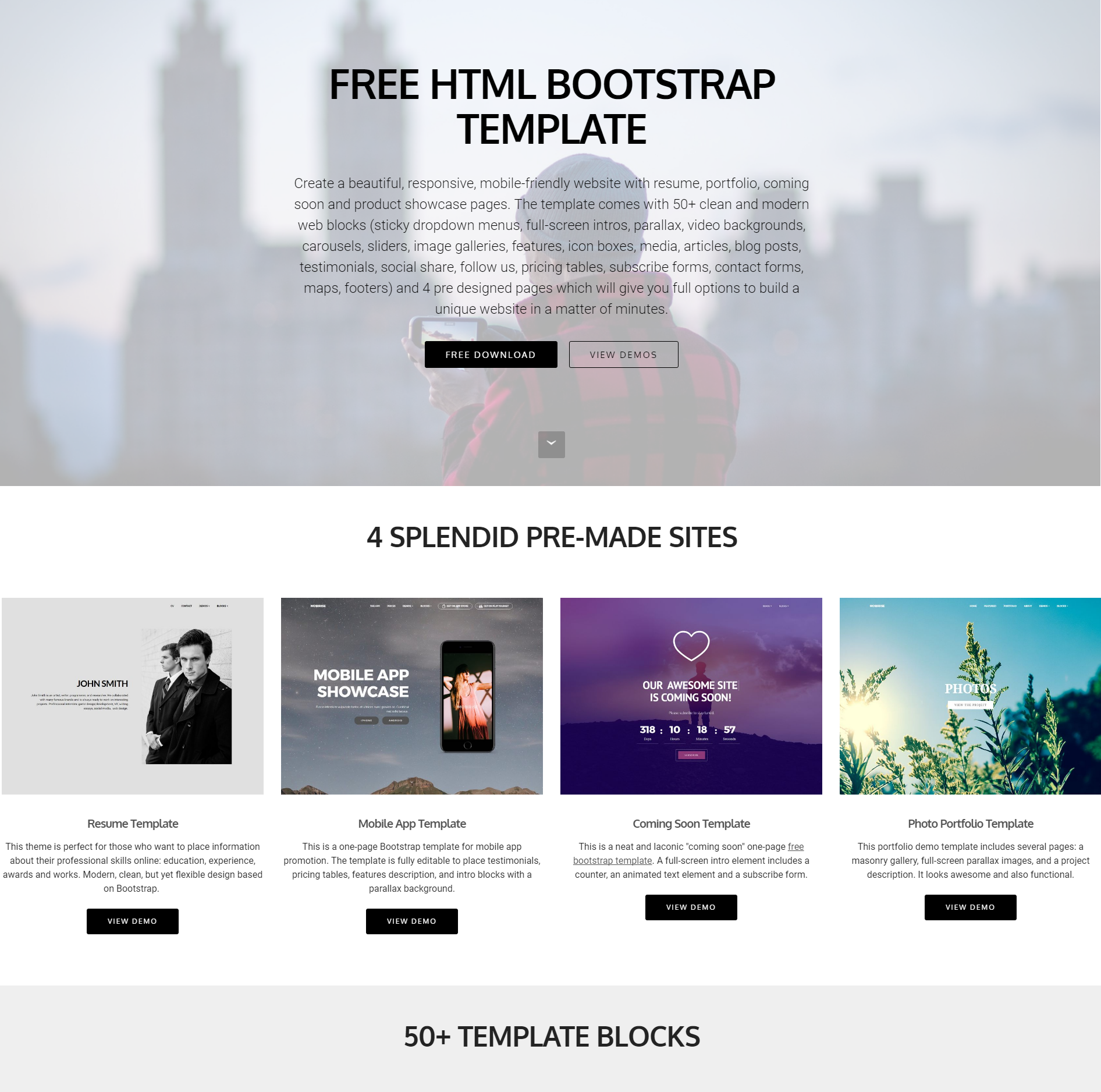 Free Download Bootstrap 4 Blocks Templates
