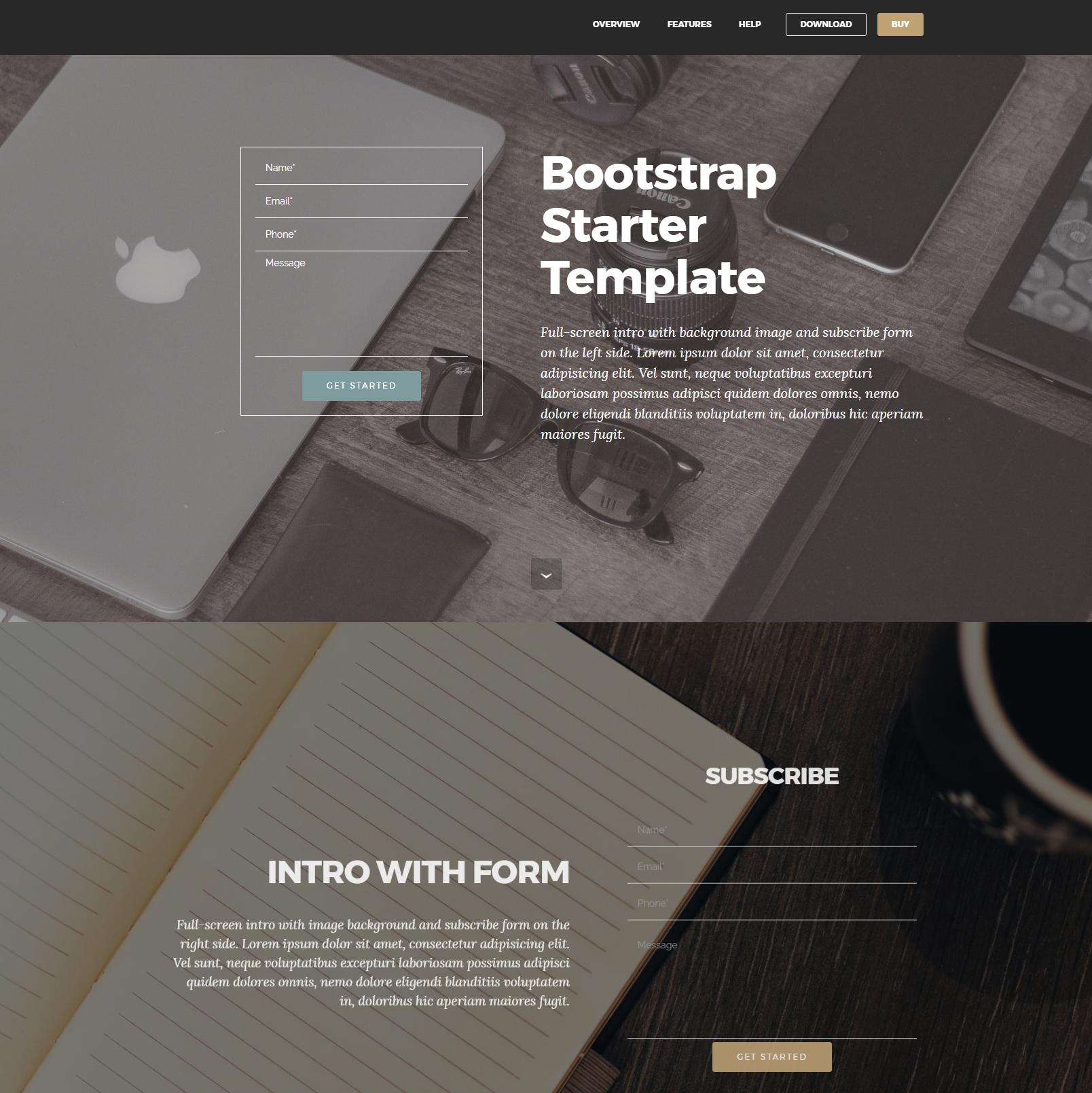 CSS3 Bootstrap Starter Templates